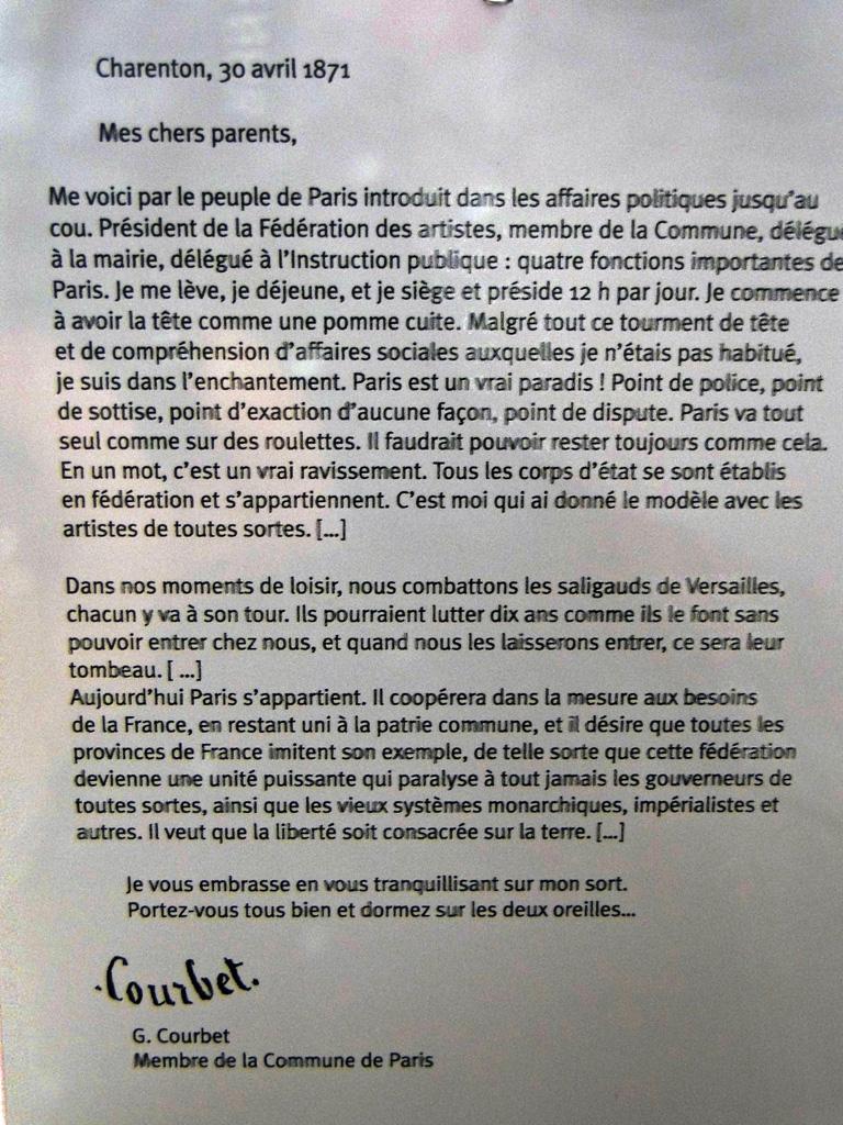 Lettre du communard Gustave Courbet à ses parents